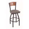 "830 Voltaire 36"" Bar Stool with Pewter Finish, Allante Medium Grey Seat, Medium Oak Back, and 360 swivel"