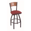 "830 Voltaire 25"" Counter Stool with Pewter Finish, Allante Wine Seat, Medium Oak Back, and 360 swivel"