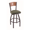 "830 Voltaire 36"" Bar Stool with Pewter Finish, Axis Grove Seat, Medium Oak Back, and 360 swivel"