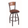 "830 Voltaire 30"" Bar Stool with Pewter Finish, Axis Paprika Seat, Medium Oak Back, and 360 swivel"