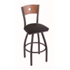 "830 Voltaire 36"" Bar Stool with Pewter Finish, Black Vinyl Seat, Medium Oak Back, and 360 swivel"