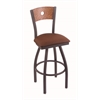"830 Voltaire 30"" Bar Stool with Pewter Finish, Rein Adobe Seat, Medium Oak Back, and 360 swivel"