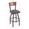 "830 Voltaire 30"" Bar Stool with Pewter Finish, Rein Bay Seat, Medium Oak Back, and 360 swivel"