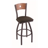 "830 Voltaire 30"" Bar Stool with Pewter Finish, Rein Coffee Seat, Medium Oak Back, and 360 swivel"