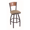 "830 Voltaire 30"" Bar Stool with Pewter Finish, Rein Thatch Seat, Medium Oak Back, and 360 swivel"