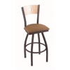 "830 Voltaire 30"" Bar Stool with Pewter Finish, Allante Beechwood Seat, Natural Maple Back, and 360 swivel"