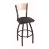 "830 Voltaire 36"" Bar Stool with Pewter Finish, Allante Dark Blue Seat, Natural Maple Back, and 360 swivel"