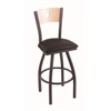 "830 Voltaire 36"" Bar Stool with Pewter Finish, Allante Espresso Seat, Natural Maple Back, and 360 swivel"