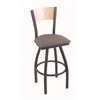 "830 Voltaire 36"" Bar Stool with Pewter Finish, Allante Medium Grey Seat, Natural Maple Back, and 360 swivel"
