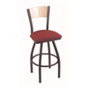 "830 Voltaire 30"" Bar Stool with Pewter Finish, Allante Wine Seat, Natural Maple Back, and 360 swivel"