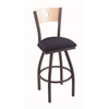 "830 Voltaire 30"" Bar Stool with Pewter Finish, Axis Denim Seat, Natural Maple Back, and 360 swivel"