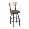 "830 Voltaire 36"" Bar Stool with Pewter Finish, Axis Grove Seat, Natural Maple Back, and 360 swivel"