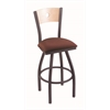 "830 Voltaire 36"" Bar Stool with Pewter Finish, Axis Paprika Seat, Natural Maple Back, and 360 swivel"
