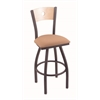 "830 Voltaire 30"" Bar Stool with Pewter Finish, Axis Summer Seat, Natural Maple Back, and 360 swivel"