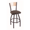 "830 Voltaire 30"" Bar Stool with Pewter Finish, Axis Truffle Seat, Natural Maple Back, and 360 swivel"