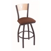 "830 Voltaire 30"" Bar Stool with Pewter Finish, Rein Adobe Seat, Natural Maple Back, and 360 swivel"