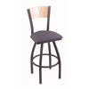 "830 Voltaire 30"" Bar Stool with Pewter Finish, Rein Bay Seat, Natural Maple Back, and 360 swivel"