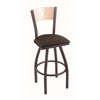 "830 Voltaire 36"" Bar Stool with Pewter Finish, Rein Coffee Seat, Natural Maple Back, and 360 swivel"