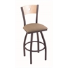 "830 Voltaire 30"" Bar Stool with Pewter Finish, Rein Thatch Seat, Natural Maple Back, and 360 swivel"