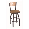 "830 Voltaire 30"" Bar Stool with Pewter Finish, Allante Beechwood Seat, Natural Oak Back, and 360 swivel"