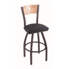 "830 Voltaire 30"" Bar Stool with Pewter Finish, Allante Dark Blue Seat, Natural Oak Back, and 360 swivel"