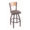 "830 Voltaire 30"" Bar Stool with Pewter Finish, Allante Medium Grey Seat, Natural Oak Back, and 360 swivel"