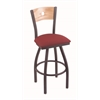 "830 Voltaire 30"" Bar Stool with Pewter Finish, Allante Wine Seat, Natural Oak Back, and 360 swivel"