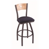 "830 Voltaire 30"" Bar Stool with Pewter Finish, Axis Denim Seat, Natural Oak Back, and 360 swivel"