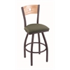 "830 Voltaire 30"" Bar Stool with Pewter Finish, Axis Grove Seat, Natural Oak Back, and 360 swivel"