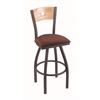 "830 Voltaire 30"" Bar Stool with Pewter Finish, Axis Paprika Seat, Natural Oak Back, and 360 swivel"