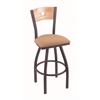 "830 Voltaire 36"" Bar Stool with Pewter Finish, Axis Summer Seat, Natural Oak Back, and 360 swivel"
