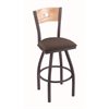 "830 Voltaire 30"" Bar Stool with Pewter Finish, Axis Truffle Seat, Natural Oak Back, and 360 swivel"