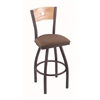 "830 Voltaire 30"" Bar Stool with Pewter Finish, Axis Willow Seat, Natural Oak Back, and 360 swivel"