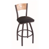 "830 Voltaire 30"" Bar Stool with Pewter Finish, Black Vinyl Seat, Natural Oak Back, and 360 swivel"