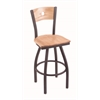 "830 Voltaire 36"" Bar Stool with Pewter Finish, Natural Oak Seat, Natural Oak Back, and 360 swivel"
