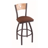 "830 Voltaire 36"" Bar Stool with Pewter Finish, Rein Adobe Seat, Natural Oak Back, and 360 swivel"
