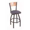 "830 Voltaire 30"" Bar Stool with Pewter Finish, Rein Bay Seat, Natural Oak Back, and 360 swivel"