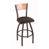 "830 Voltaire 25"" Counter Stool with Pewter Finish, Rein Coffee Seat, Natural Oak Back, and 360 swivel"