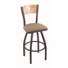 "830 Voltaire 30"" Bar Stool with Pewter Finish, Rein Thatch Seat, Natural Oak Back, and 360 swivel"