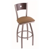 "830 Voltaire 30"" Bar Stool with Stainless Finish, Allante Beechwood Seat, Dark Cherry Maple Back, and 360 swivel"