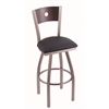 "830 Voltaire 30"" Bar Stool with Stainless Finish, Allante Dark Blue Seat, Dark Cherry Maple Back, and 360 swivel"