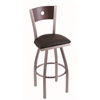 "830 Voltaire 30"" Bar Stool with Stainless Finish, Allante Espresso Seat, Dark Cherry Maple Back, and 360 swivel"