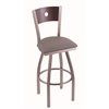 "830 Voltaire 30"" Bar Stool with Stainless Finish, Allante Dark Cherry Grey Seat, Dark Cherry Maple Back, and 360 swivel"
