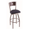 "830 Voltaire 30"" Bar Stool with Stainless Finish, Axis Denim Seat, Dark Cherry Maple Back, and 360 swivel"