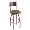 "830 Voltaire 30"" Bar Stool with Stainless Finish, Axis Grove Seat, Dark Cherry Maple Back, and 360 swivel"