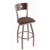 "830 Voltaire 30"" Bar Stool with Stainless Finish, Axis Truffle Seat, Dark Cherry Maple Back, and 360 swivel"
