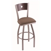 "830 Voltaire 30"" Bar Stool with Stainless Finish, Axis Willow Seat, Dark Cherry Maple Back, and 360 swivel"