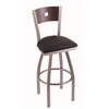 "830 Voltaire 30"" Bar Stool with Stainless Finish, Black Vinyl Seat, Dark Cherry Maple Back, and 360 swivel"