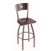 "830 Voltaire 30"" Bar Stool with Stainless Finish, Dark Cherry Maple Seat, Dark Cherry Maple Back, and 360 swivel"