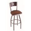 "830 Voltaire 30"" Bar Stool with Stainless Finish, Rein Adobe Seat, Dark Cherry Maple Back, and 360 swivel"